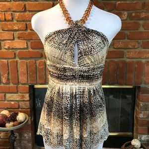BoHo CHIC Leopard Print Beaded Cut Out Halter Top